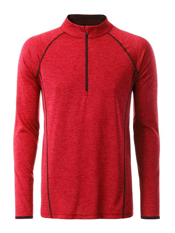 Pánské funkční tričko s dlouhým rukávem JN498 - Červený melír - titan | XL