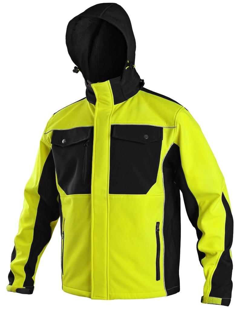 Pánská softshellová bunda TULSA - Žlutá / černá | XL