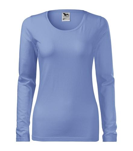 Dámské tričko s dlouhým rukávem Slim Adler - Nebesky modrá | XL