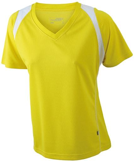 Dámské běžecké tričko s krátkým rukávem JN396 - Žlutá / bílá   XL