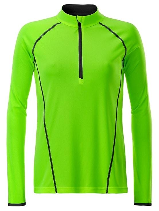 Dámské funkční tričko s dlouhým rukávem JN497 - Jasně zelená / černá | XS