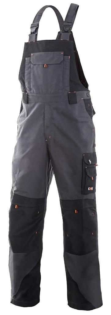 Pracovní kalhoty s laclem SIRIUS TRISTAN - Šedá / oranžová   52