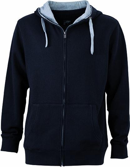 Pánská mikina na zip s kapucí JN963 - Černá / šedá | S