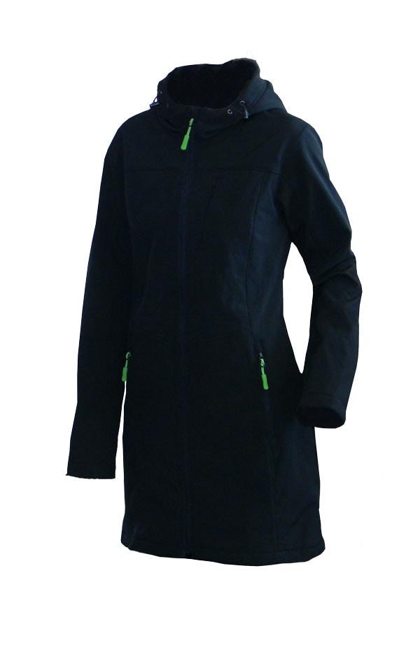 Dámská softshellová bunda prodloužená - Černá / zelená | S