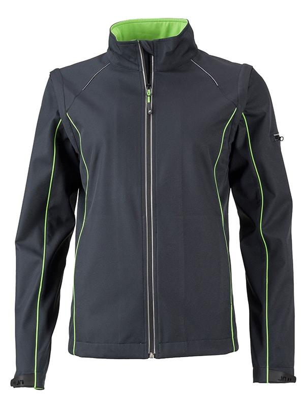 Dámská softshellová bunda 2v1 JN1121 - Ocelově šedá / zelená | S