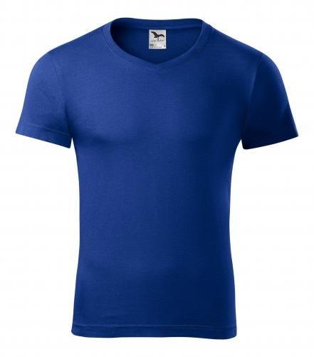 Pánské tričko slim fit V-NECK - Královská modrá | M