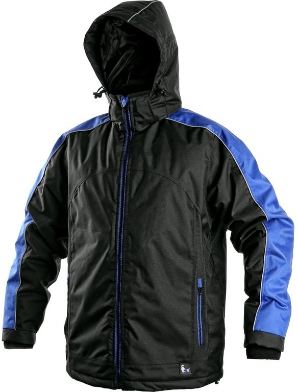Canis Pánska zimná bunda BRIGHTON - Černá / modrá | XXXL