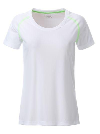 Dámské funkční tričko JN495 - Bílo-zářivě zelená | M