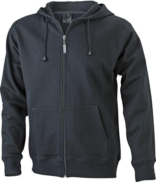 Pánská mikina na zip s kapucí JN042 - Černá | XXL