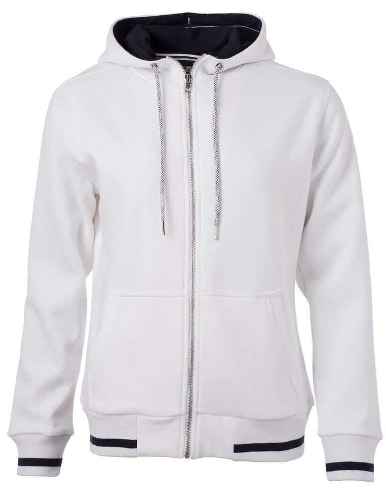 Dámská mikina na zip s kapucí Club JN775 - Bílá / tmavě modrá | L