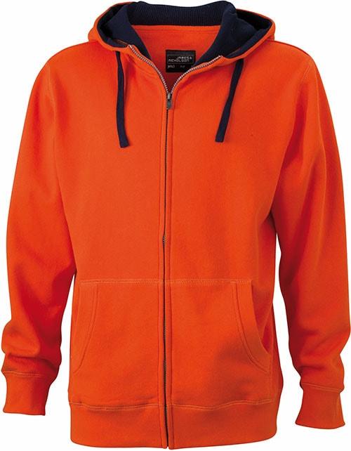 Pánská mikina na zip s kapucí JN963 - Tmavě oranžová / tmavě modrá | XXXL
