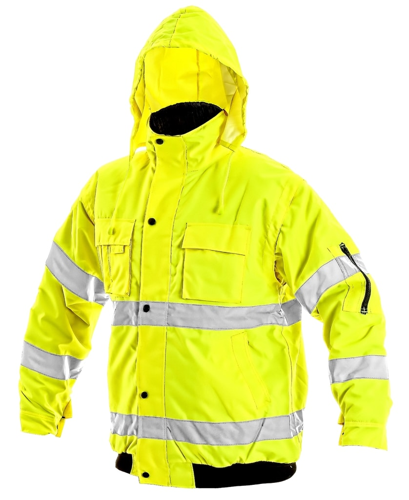 Zimní reflexní bunda s odepínacími rukávy LEEDS - Žlutá | XXL