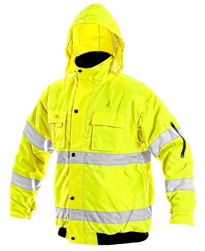 Zimní reflexní bunda s odepínacími rukávy LEEDS - Žlutá | M