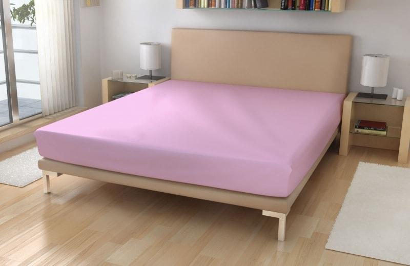Polášek Jersey plachta s elastanom - Světle růžová | 180 x 200 cm