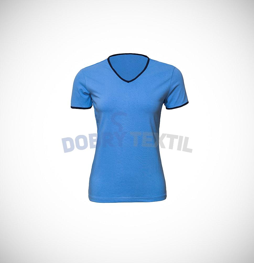 Dámské dvoubarevné tričko HIT - Světle modrá / tmavě modrá | L