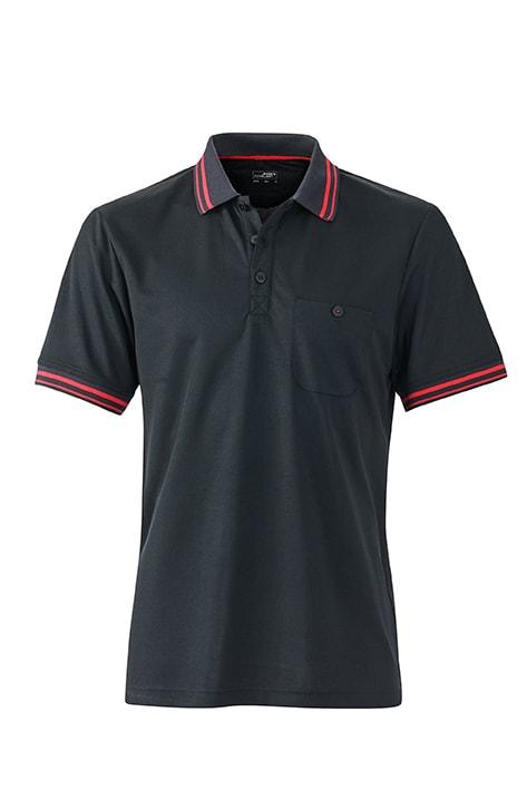 Pánská sportovní polokošile JN702 - Černá / červená | XL