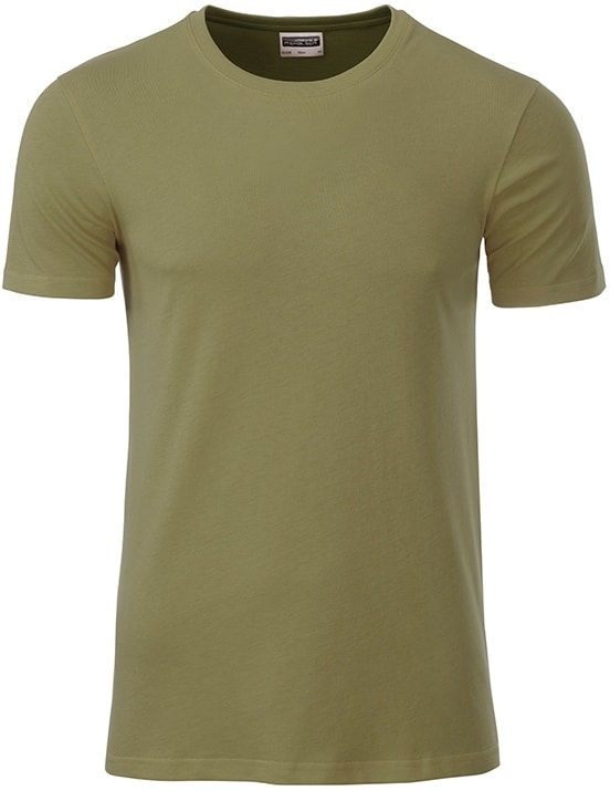 Klasické pánské tričko z biobavlny 8008 - Khaki | M