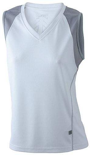 Dámské běžecké tričko bez rukávů JN394 - Bílá / stříbrná | L