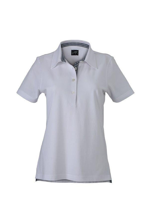 Elegantní dámská polokošile JN969 - Bílá / tmavěmodro-bílá   L