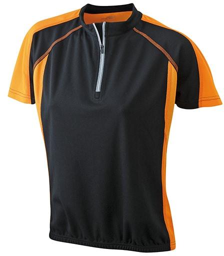 Dámské cyklistické tričko JN419 - Černá / oranžová | M