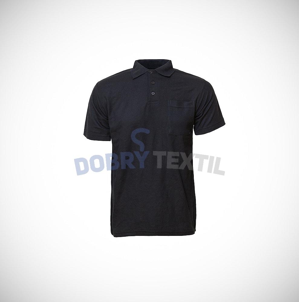 Pique pánská polokošile s kapsičkou - Černá | XXXL