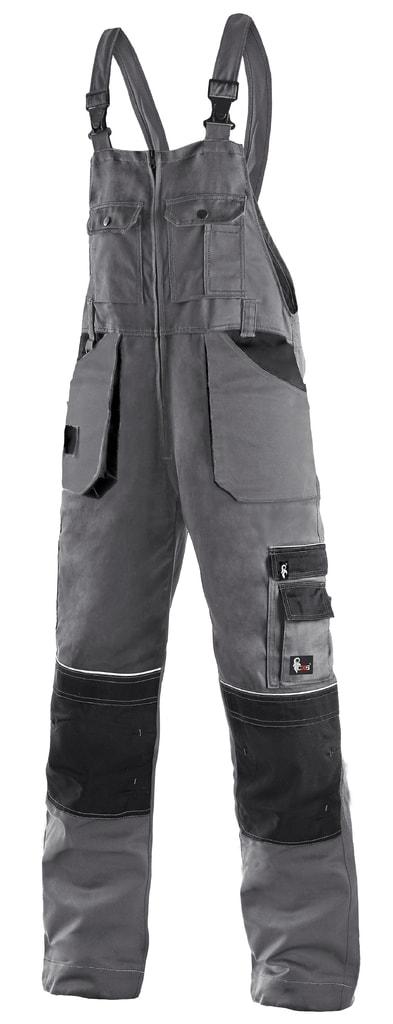 Montérkové kalhoty s laclem ORION KRYŠTOF - Šedá / černá   52