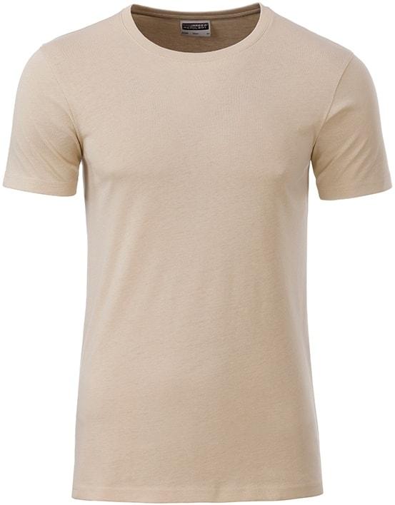 Klasické pánské tričko z biobavlny 8008 - Stone | M