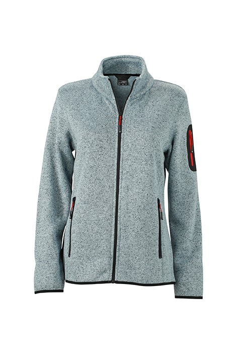 Dámská bunda z pleteného fleecu JN761 - Světle šedý melír / červená | S