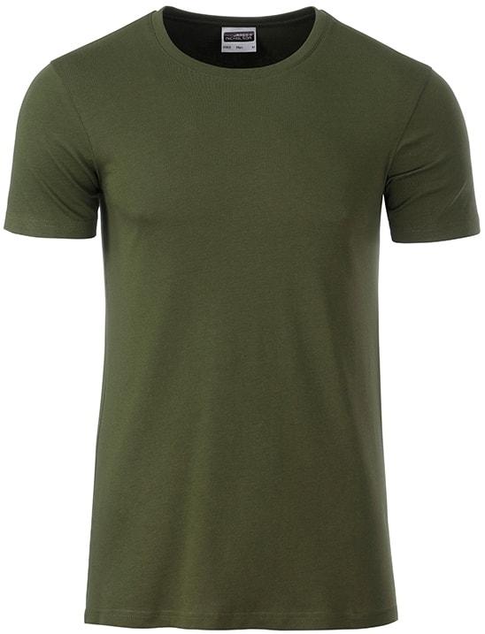 Klasické pánské tričko z biobavlny 8008 - Olivová | M