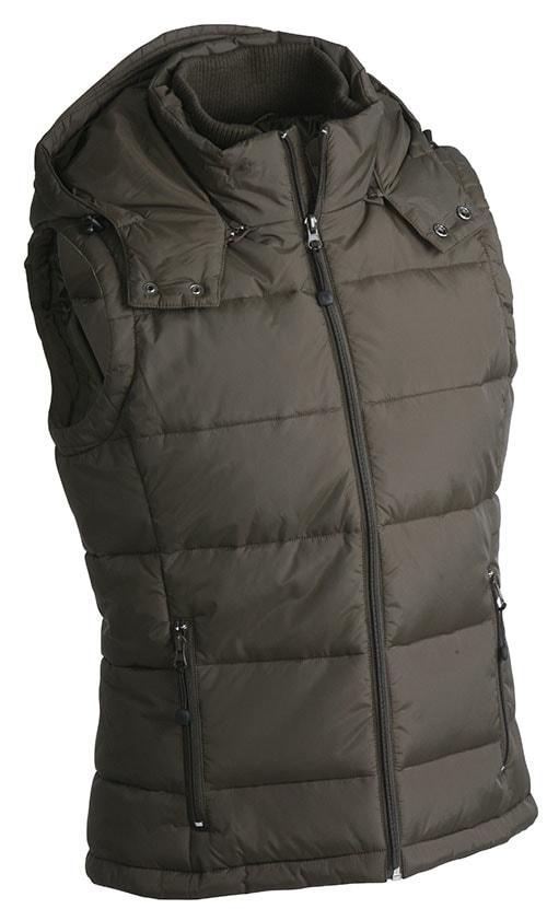 Pánská zimní vesta s kapucí JN1004 - Hnědá | XXXL