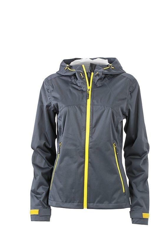 Dámská softshellová bunda s kapucí JN1097 - Ocelově šedá / žlutá | XXL