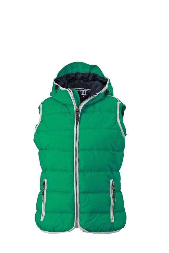Dámská sportovní vesta JN1075 - Irská zelená / bílá | S