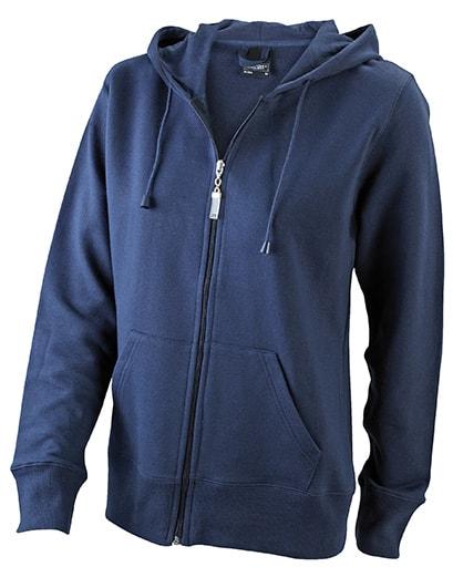 Dámská mikina na zip s kapucí JN053 - Tmavě modrá | L