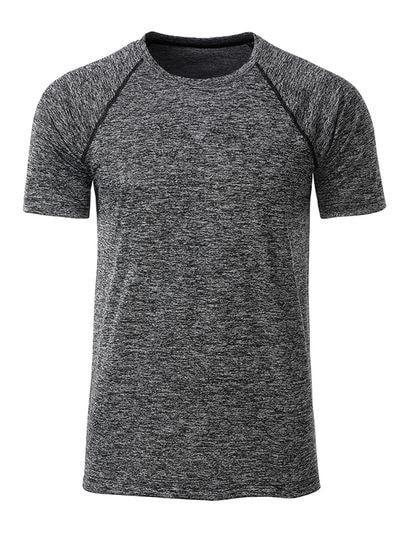 Pánské funkční tričko JN496 - Černý melír / černá | M