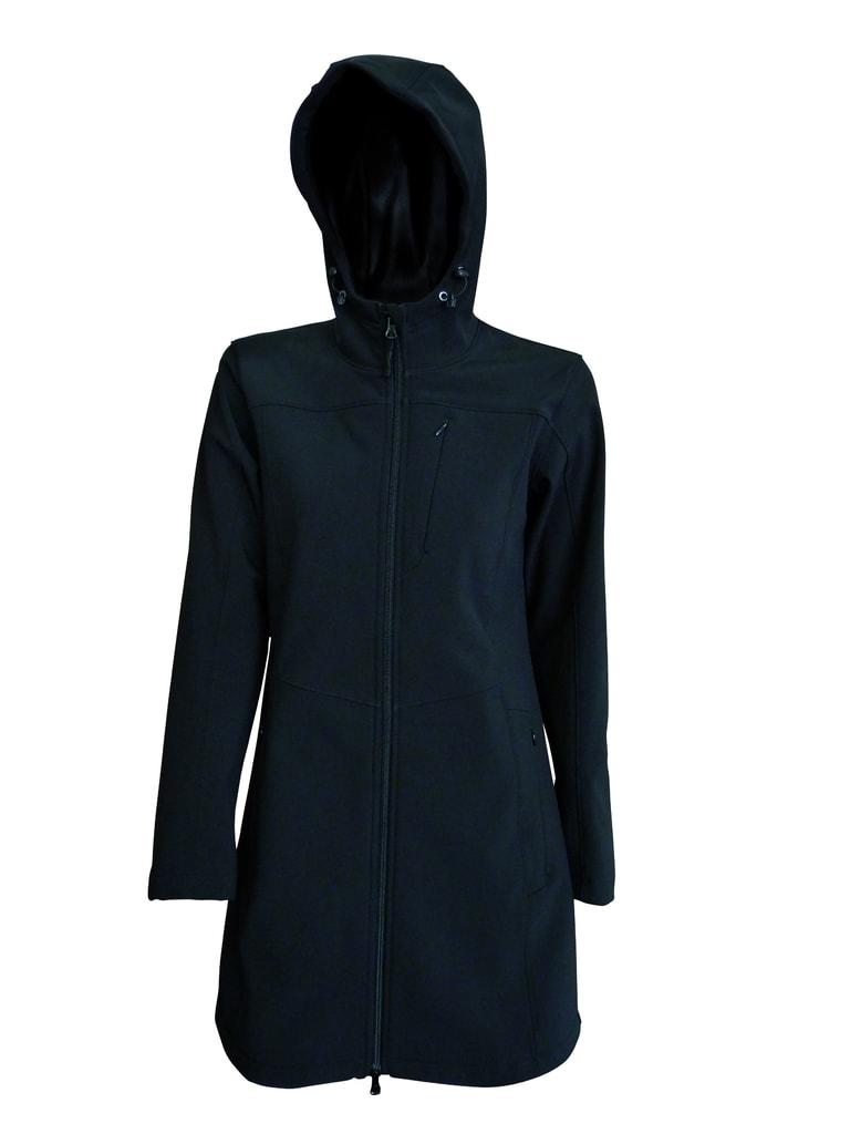 Dámská softshellová bunda prodloužená - Černá | XL