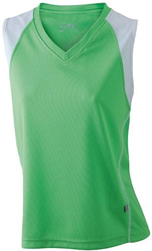 Dámské běžecké tričko bez rukávů JN394 - Limetkově zelená / bílá | XXL
