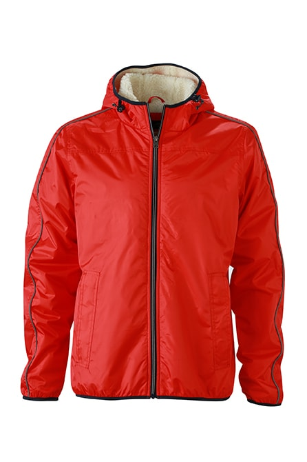 James & Nicholson Pánska zimná bunda Baránok JN1104 - Světle červená / bílá | XXL
