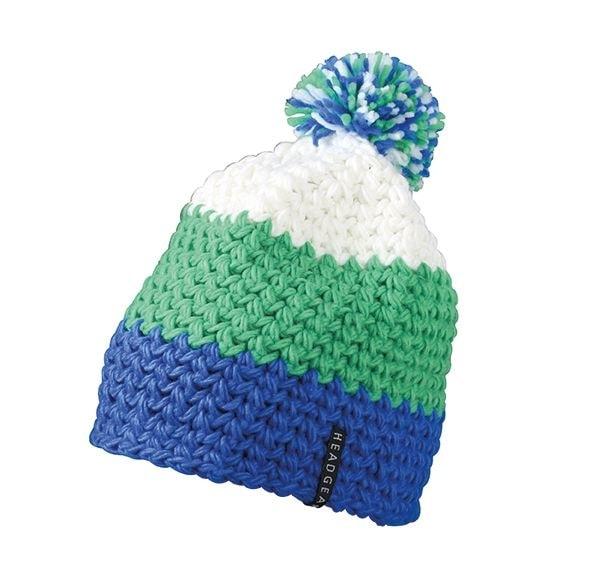 Háčkovaná zimní čepice MB7940 - Aqua / limetková / bílá | uni