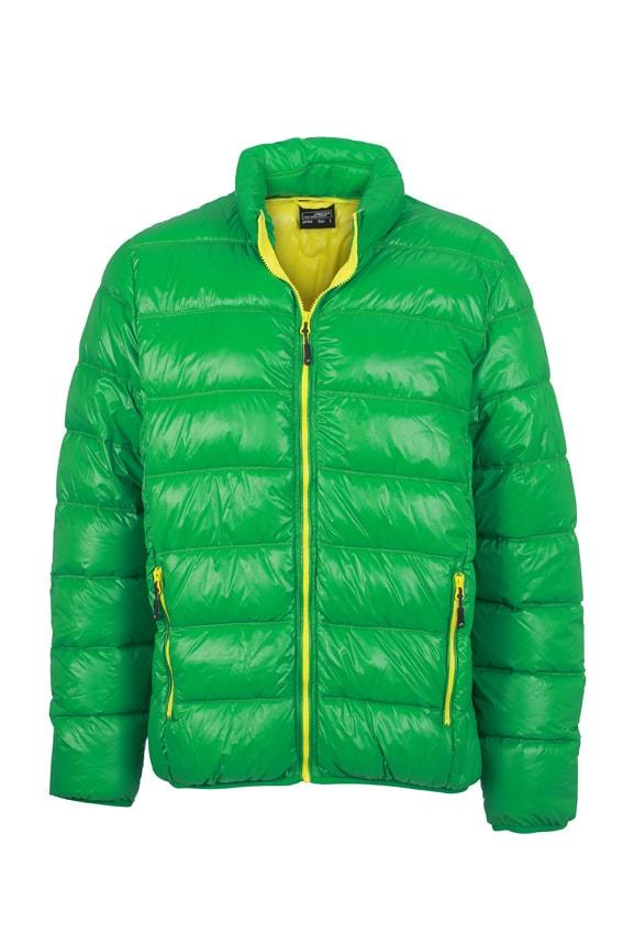 Zimní pánská péřová bunda JN1064 - Kapradinová / žlutá | XL