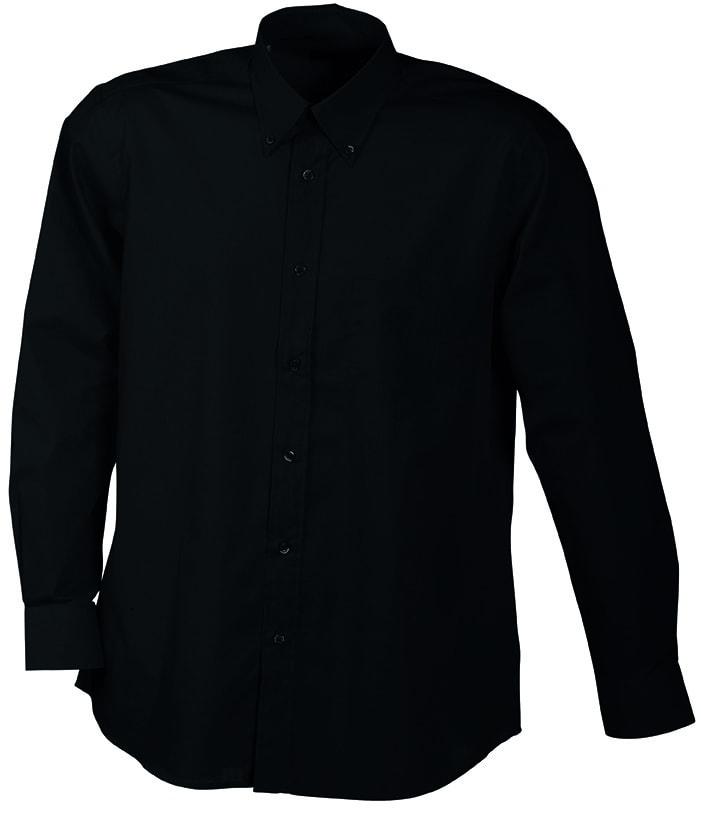 Pánská košile s dlouhým rukávem JN600 - Černá | XXXL