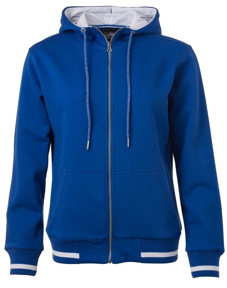 Dámská mikina na zip s kapucí Club JN775 - Královská modrá / bílá | S