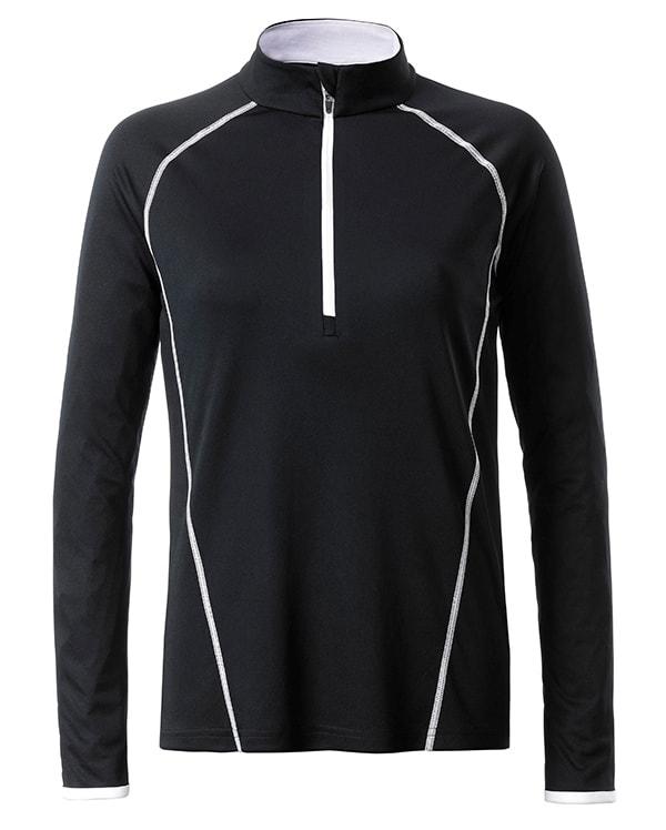Dámské funkční tričko s dlouhým rukávem JN497 - Černá / bílá | S