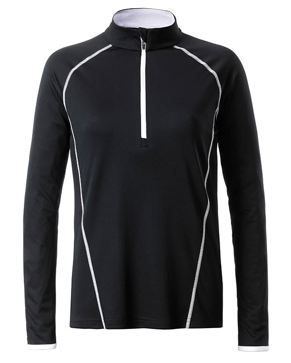 Dámské funkční tričko s dlouhým rukávem JN497 - Černá / bílá | XL