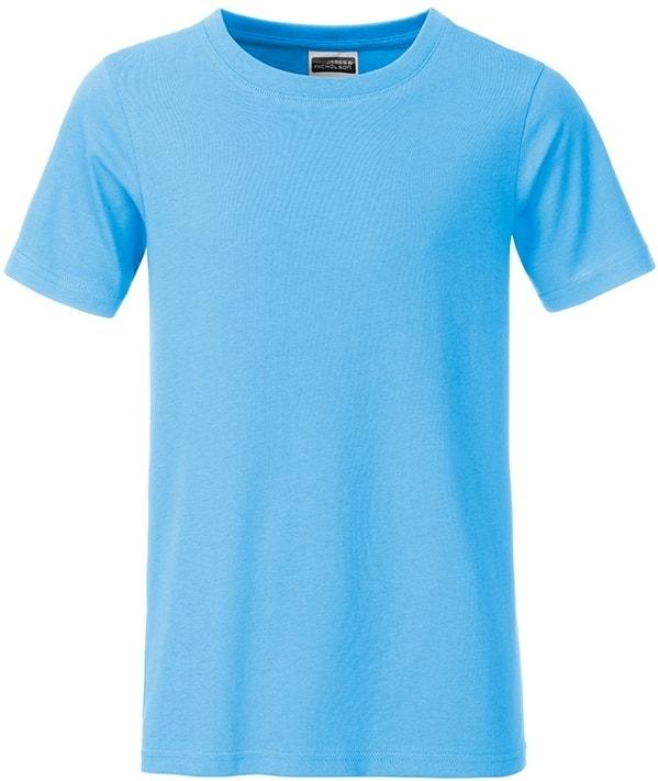 Klasické chlapecké tričko z biobavlny 8008B - Nebesky modrá | M