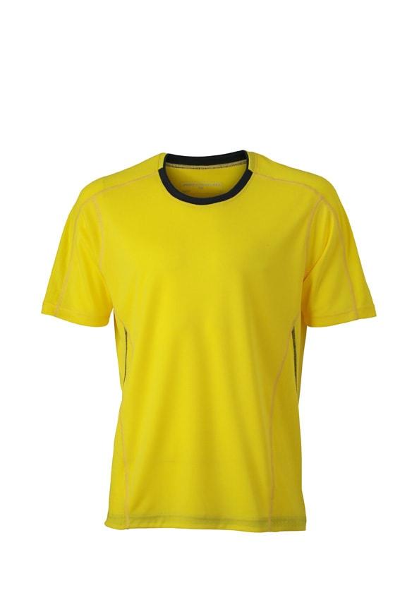Pánské běžecké tričko JN472 - Citrónová / ocelově šedá | S