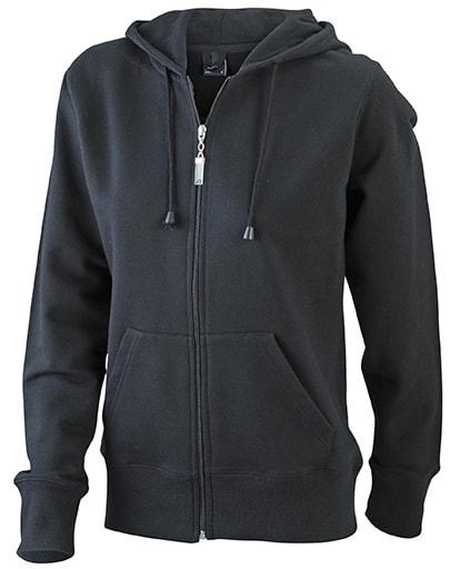 Dámská mikina na zip s kapucí JN053 - Černá | L