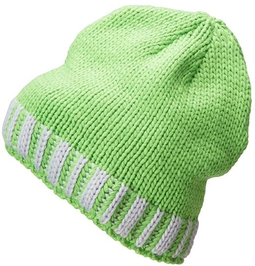 Pletená pánská zimní čepice MB7106 - Jarně zelená / stříbrná