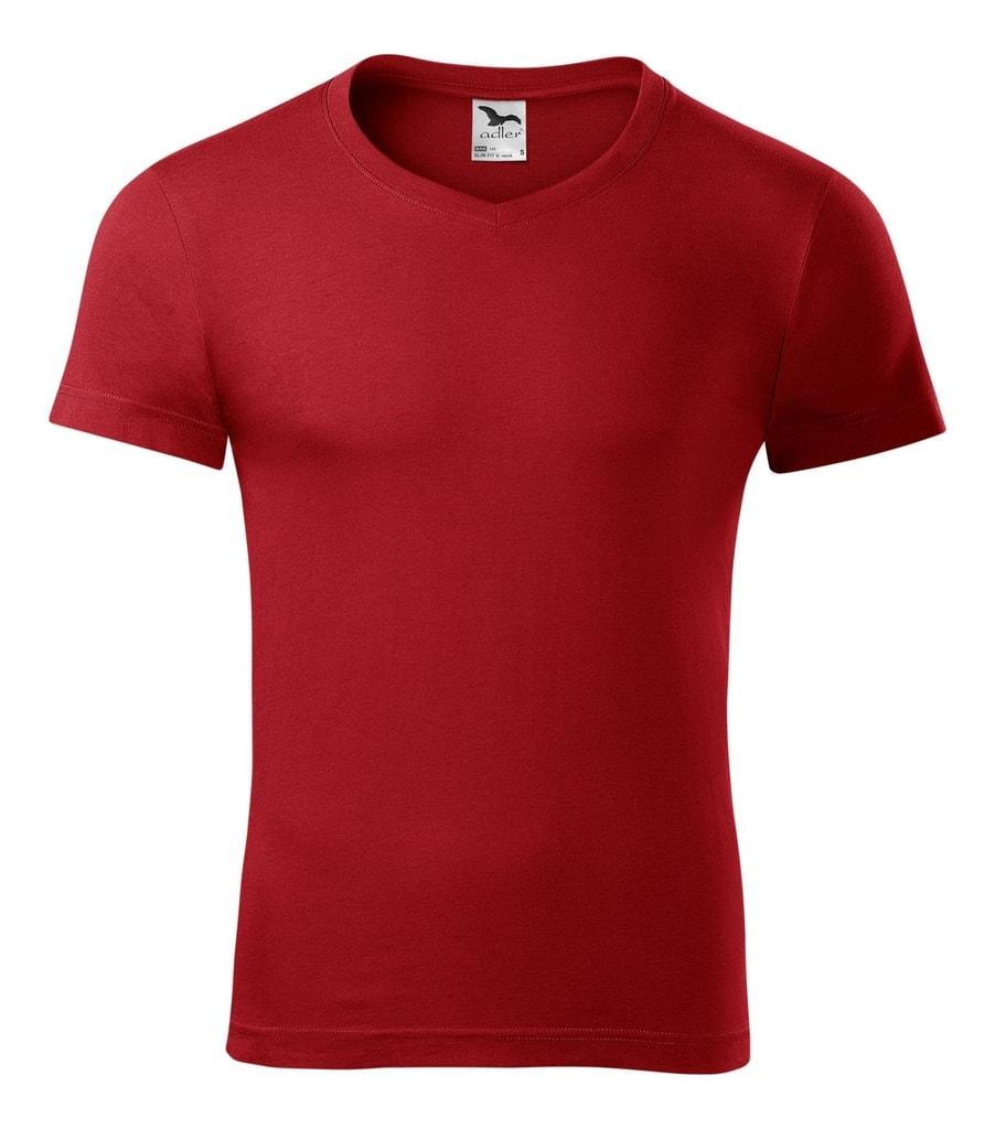 Pánské tričko slim fit V-NECK - Červená | XXL