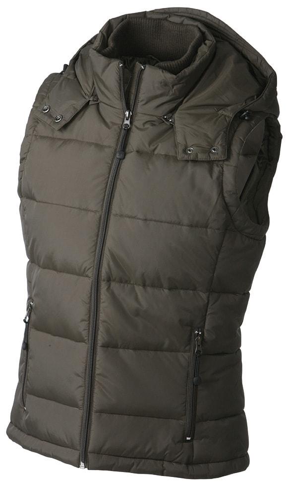 Dámská zimní vesta s kapucí JN1005 - Hnědá | XXL