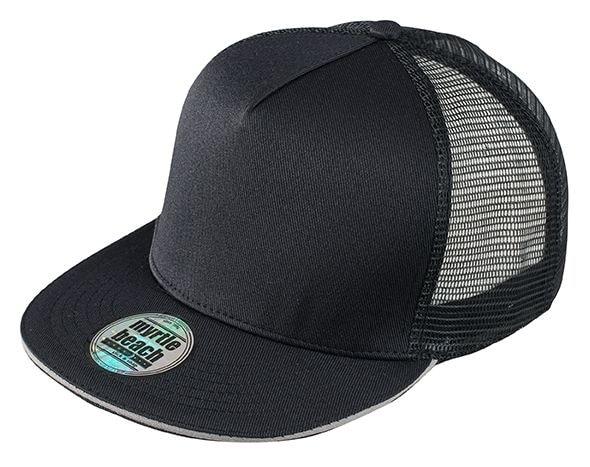 Kšiltovka s rovným kšiltem MB6636 - Černá / světle šedá